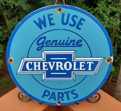 $ CDN121.80 • Buy Vintage 1958 Dated Genuine Chevrolet Parts Porcelain Ad Dealership Sign Chevy