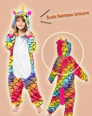 AU29.95 • Buy Scale Rainbow Unicorn Onesie Kigurumi Pajamas Unisex Sleepwear Cosplay Costume
