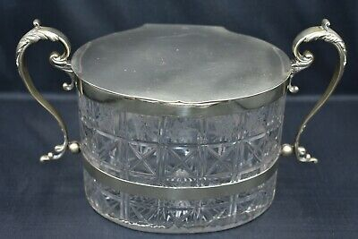 Antique Victorian Glass Biscuit Barrel ~ Silver Plate  • 10£