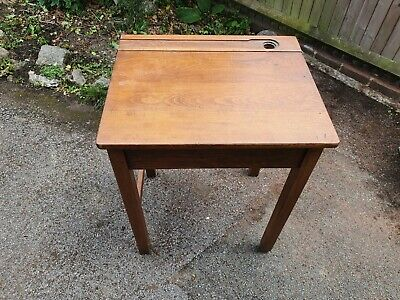 Vintage Wooden School Desk • 15£