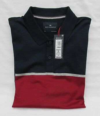 Men's Marks And Spencer Blue Harbour Red Mix Luxury Cotton Polo Shirt Size Xl • 16.99£