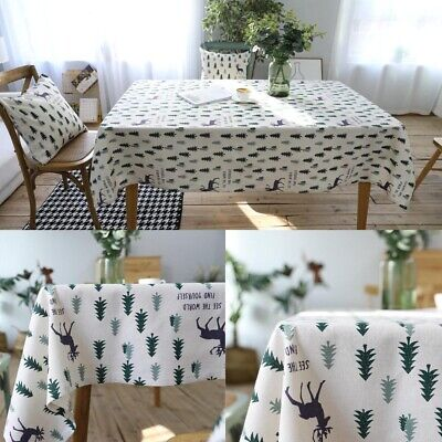 Cotton Linen Christmas Tree Modern Tablecloth Coffee Table Cloth Cover Rectangle • 9.95£
