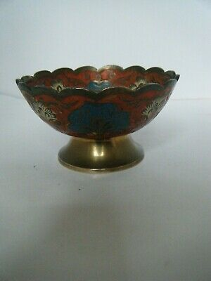 Vintage Continental Floral Enameled Small Brass Pot Bowl • 6£