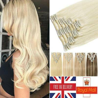 Blonde Russian Clip In Remy Human Hair Extensions Full Head Smooth 8 -24  Smooth • 18.72£
