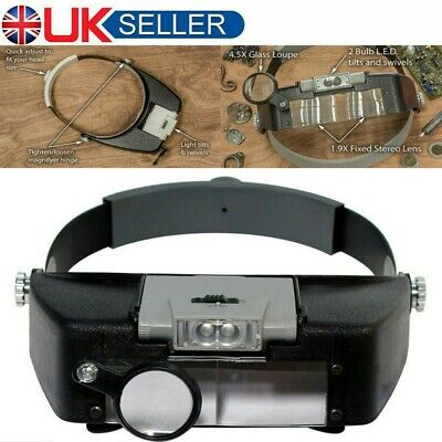 Led Head Magnifying Glasses Headset With Light Hands Free Headband Magnifier UK • 9.79£