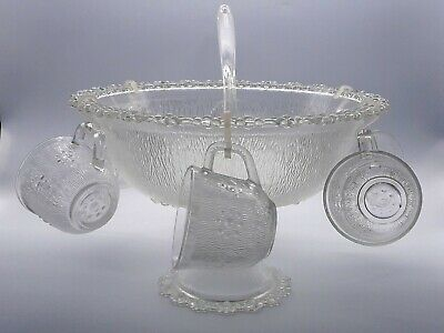 Vintage Large Pressed Glass Footed Punch Bowl With 6 Cups Hooks And Ladle Party • 29.95£
