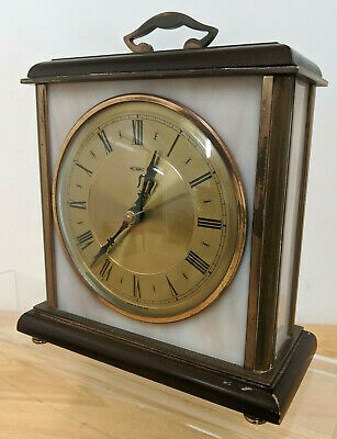 Vtg Metamec Brass & Rose Onyx / Marble Carriage / Mantel Clock 1960s - WORKING  • 20.39£