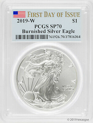 $64.10 • Buy 2019-W $1 Silver Eagle SP70 - First Day Of Issue - Blue Flag Label