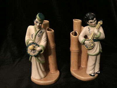 $20 • Buy Vintage Ceramic Arts Studio Pair Asian Figurines W/Bamboo Bud Vases 1940's