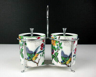 $59.99 • Buy Jam Marmalade Pots In Chrome Stand Midwinter Lorna Doone Vintage England Chintz