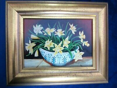 Past Times Oleograph Print Daffodils In Delft Dish In Gold Coloured Wooden Frame • 14.99£