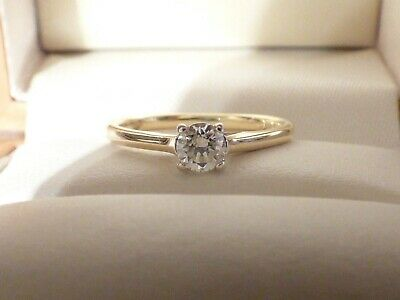 Goldsmiths 18ct Yellow Gold Diamond Solitaire Engagement Ring 0.25ct. Sz J • 250£