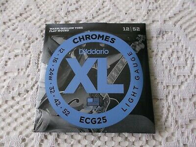 $ CDN22.50 • Buy (01) Set D Addario  Chromes Flat Wound Electric Guitar Strings 12/52 ECG25