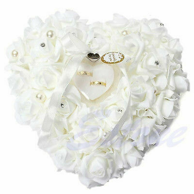 Wedding Ceremony Ivory Satin Crystal Ring Bearer Pillow Cushion Ring Pillow • 10.39£
