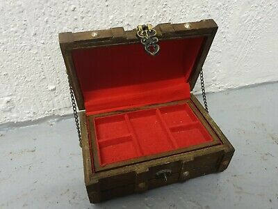 Wooden Vintage Treasure Chest Wood Jewellery Storage Box Case Ring Sewing • 4.95£
