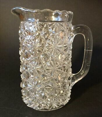 """Rare Antique Victorian Pressed Glass Water 5"""" Jug By Henry Greener Marked • 9.95£"""