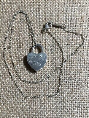 $51 • Buy Please Return To Tiffany Heart Lock Pendant Necklace 925 Sterling Silver