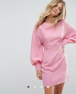 AU40 • Buy Asos Pink Fitted Long Sleeve Occasion Dress Size 18 Bishop Cuff Balloon Sleeves