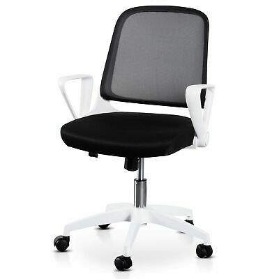 AU150 • Buy Heston Black Office Chair - White Arm And Base