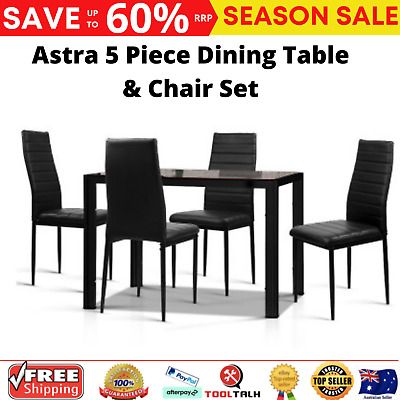 AU225.98 • Buy Artiss Astra 5-Piece Dining Table And Chairs Sets - Black