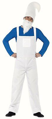 Mens Smurf Fancy Dress Costume Garden Gnome Dungarees Beard Hat 80s 90s Stag Do • 11.49£