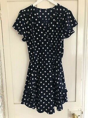 £12 • Buy Womens 1940s Style Wrap Front Polka Dot Crepe Dress Size 12