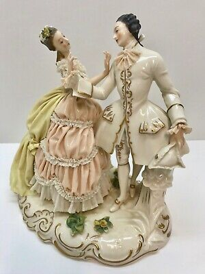 $ CDN100.54 • Buy STUNNING PORCELAIN FIGURINE GROUPING Colonial Man & Lady Waltzing, Lace, Marked