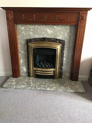Baxi Coal Effect Gas Fire In Brass With Marble Surround And Wooden Mantel • 7.60£