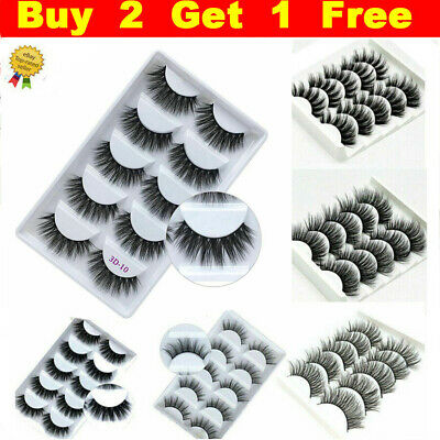 5Pairs 3D Natural False Eyelashes Long Thick Mixed Fake Eye Lashes Makeup Mink • 4.99£