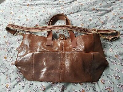 Real Tan Leather Bag With  Handles And Strap. Never Been Used • 14£