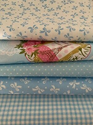£8.90 • Buy Blue- 5 X Fat Quarters - 100% Cotton Fabric- Smooth Cotton Twill-
