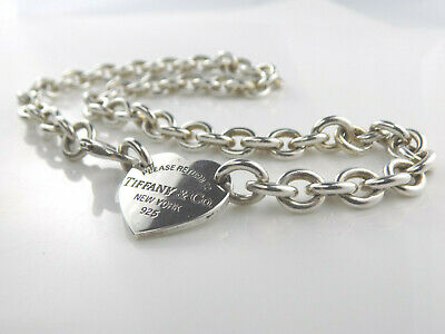 $227.50 • Buy Please Return To Tiffany & Co Heart Tag Sterling Silver Choker 15  Necklace 7326