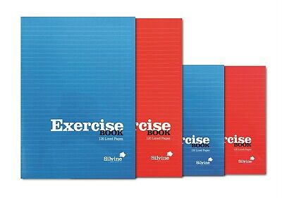 5  X A5  SILVINE Red &  BLUE EXERCISE NOTEBOOK  120 PAGE CLASS CHILDREN HOMEWOR • 7.99£