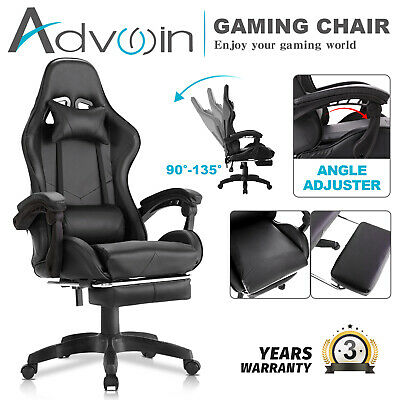 AU129.90 • Buy Advwin Gaming Chair PU Leather Office Chair W/Footrest Ergonomic Recliner Chair