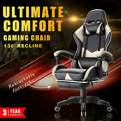 AU149.90 • Buy Executive Gaming Chair Office Computer Chair Racer Recliner Chair Footrest Grey