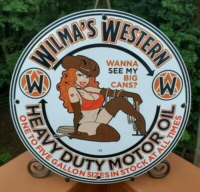 $ CDN15.62 • Buy VINTAGE PORCELAIN WILMAS WESTERN HEAVY DUTY  GAS AND OIL SIGN Cow Girl Pin Up