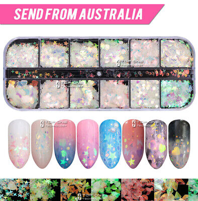 AU7.80 • Buy 12 Styles Holographic Laser Nail Sequins Flake Confetti Art Decoration Thin 4034