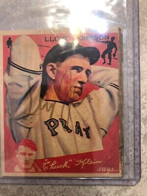 $27 • Buy 1934 Goudey #86 Lloyd Johnson Pittsburgh Pirates Baseball Card VG Autographed