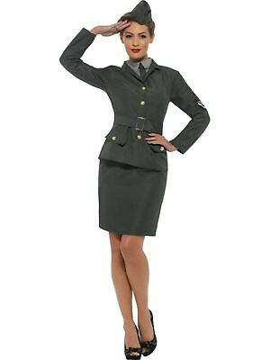 Army Costume 1930s 1940s Ladies Uniform Fancy Dress Outfit Military World War 2 • 22£