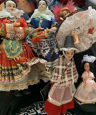 """Vintage Foreign Doll Bundle 5"""" To 10"""" Tall Incl Rexard Welsh Doll (5 Dolls) • 4£"""