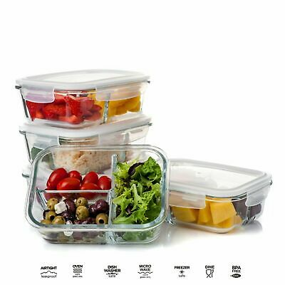 £9.99 • Buy Glass Storage Food Containers With Clip Lids Divided Fridge Lunch Boxes Airtight