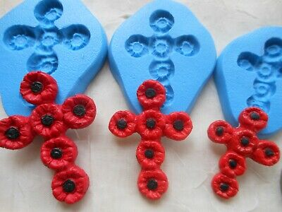 £5.25 • Buy 1x Mini Craft Mould: Red Poppy Flower Cross (3 Size Choice) Clay Resin Cupcake