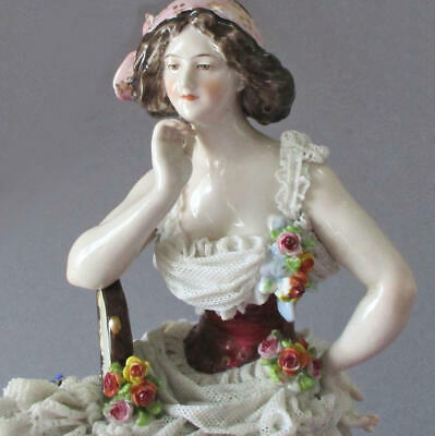 $ CDN207.19 • Buy Antique 18thC ROYAL NAPLES Porcelain Figurine LADY Layers Of LACE Flowers C1780