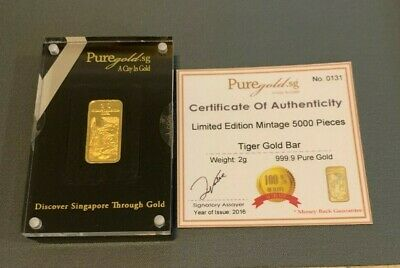 $ CDN402.05 • Buy 2 Gram Gold Bar - Tiger Design From Singapore - Limited Edition 5,000