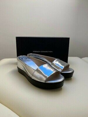 Womens Boxed FRENCH CONNECTION Leather Metallic Slider Sandals Size 6 39  • 18£