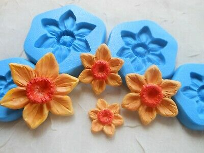 1x Sugarcraft/Fimo MOULD: Choice Daffodil Garden Flower (Clay Resin Wax PMC) • 3.50£