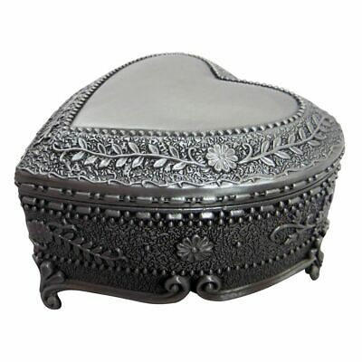 Antique Pewter Plated Metal Heart Trinket Jewellery Chest With Rose Decor New • 5.50£