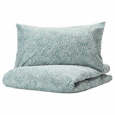 New TRADKRASSULA Single Quilt/Duvet Cover & Pillowcase, White/Green *Brand Ikea* • 12£