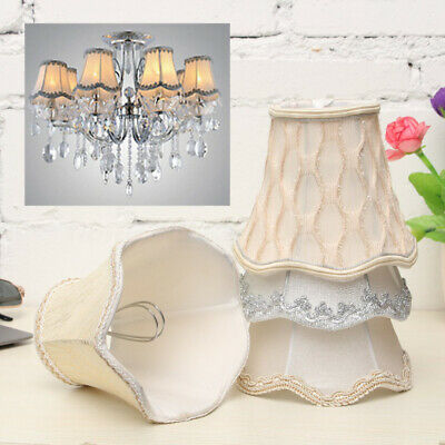 Vintage Small Lace Lamp Shades Textured Fabric Ceiling Chandelier Light Covers F • 3.99£