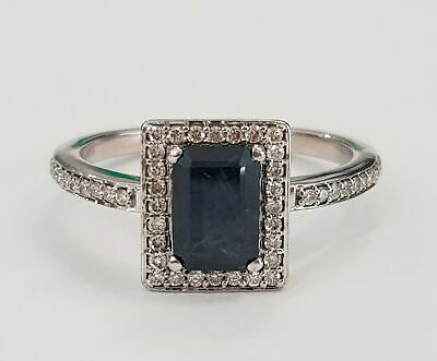 AU950 • Buy 9ct WHITE GOLD NATURAL SAPPHIRE & DIAMOND DRESS RING VALUED @ $1799